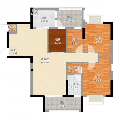 星湖八号4室2厅1卫1厨109.00㎡户型图