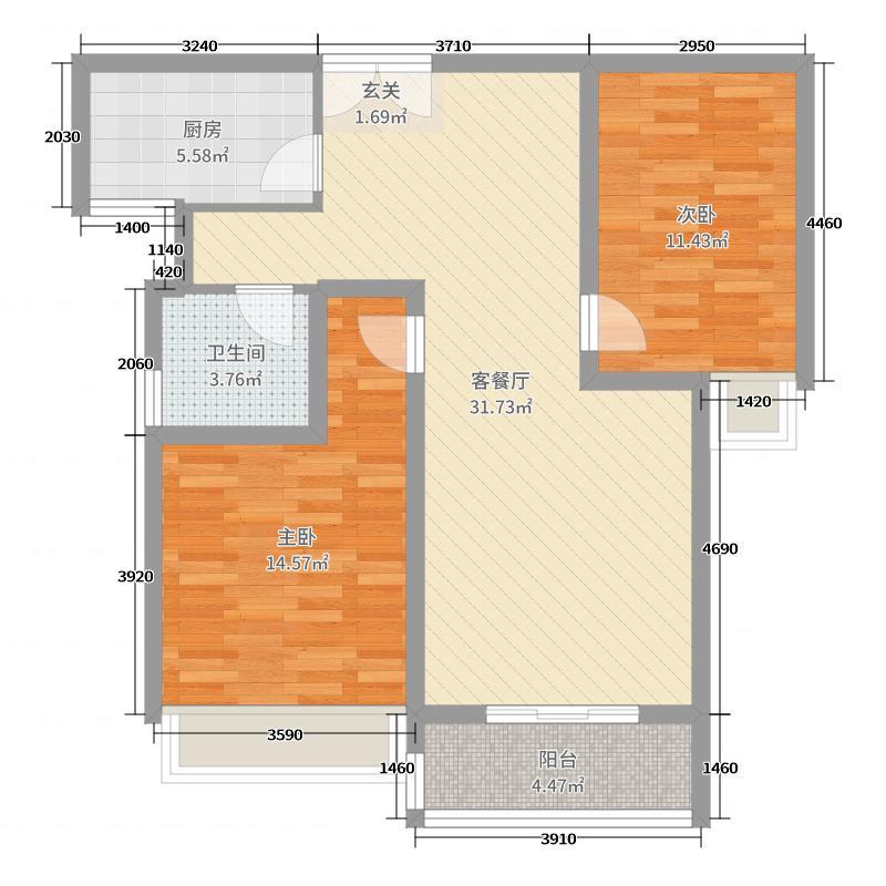 帝苑学府90.44㎡30#A2、31#D1户型2室2厅1卫1厨