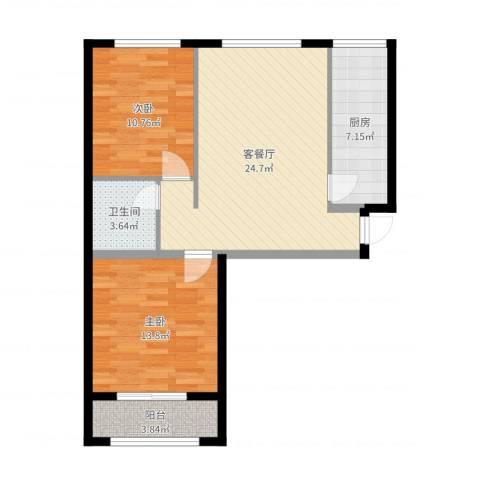 东城景苑2室2厅1卫1厨80.00㎡户型图