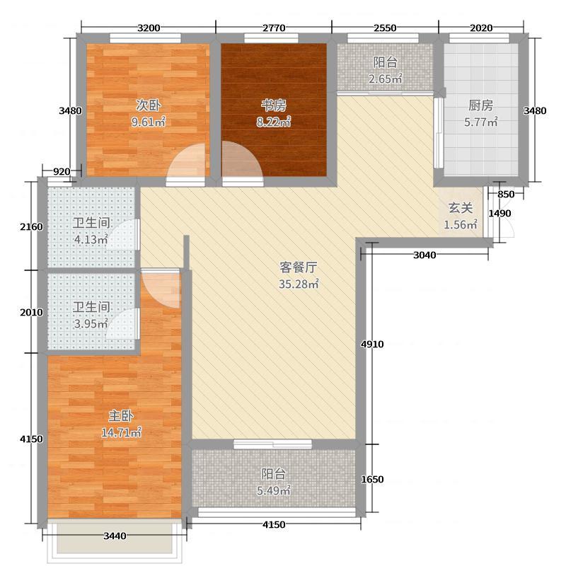 帝苑学府112.00㎡33号楼C2户型3室3厅2卫1厨