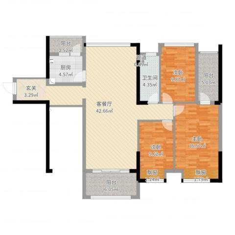 唯美嘉园3室2厅1卫1厨127.00㎡户型图