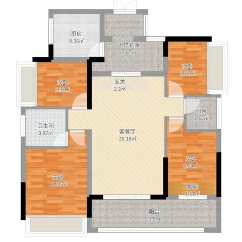 唯美嘉园4室2厅1卫1厨108.00㎡户型图