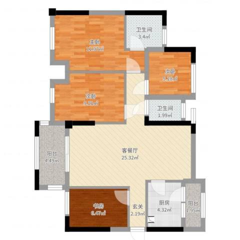 唯美嘉园4室2厅2卫1厨93.00㎡户型图