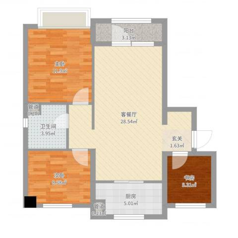 万科樱花园3室2厅1卫1厨83.00㎡户型图
