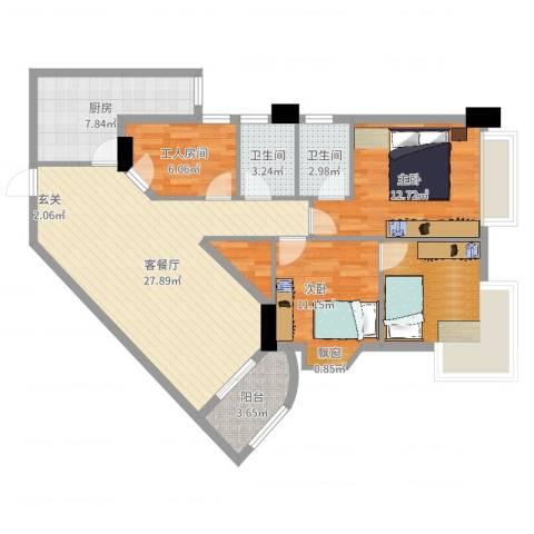 富力半岛花园2室2厅2卫1厨104.00㎡户型图