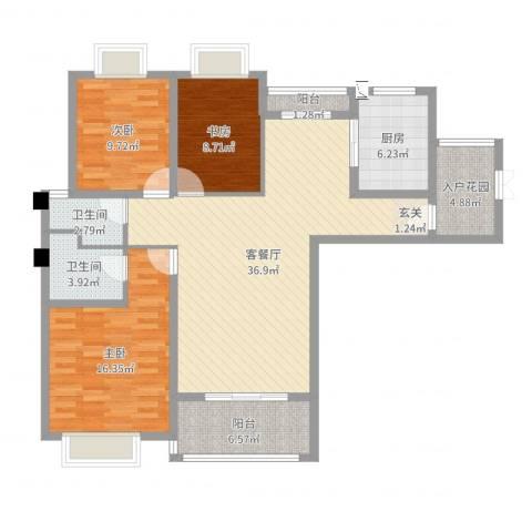 龙庭一品3室2厅2卫1厨122.00㎡户型图
