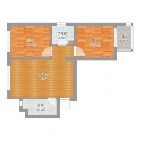 顺平-长城公寓01&04户型2室2厅1卫1厨71.00㎡户型图