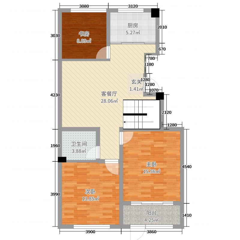 大有公馆98.00㎡二期U户型3室3厅2卫1厨