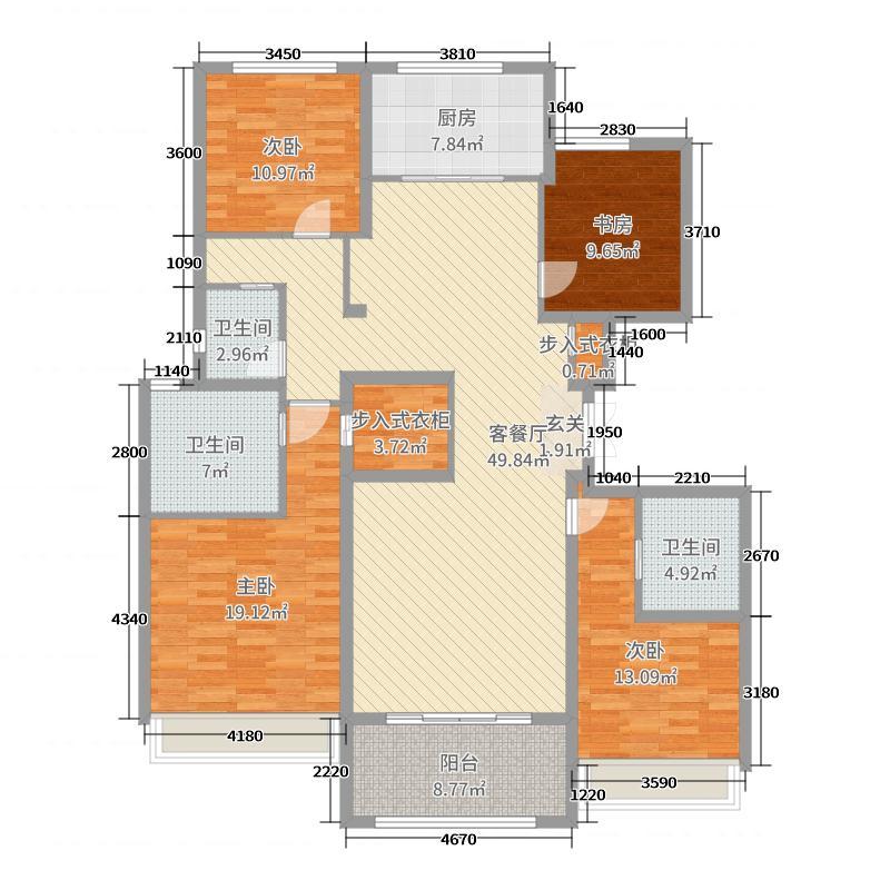 蓝城�m园173.30㎡平层B户型4室4厅3卫1厨