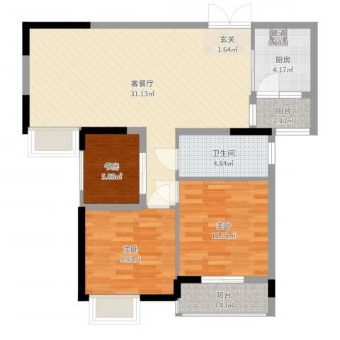 �房翰林珑城3室2厅1卫1厨90.00㎡户型图