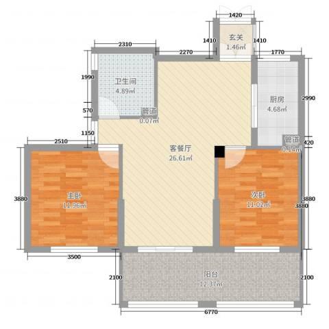 勤业镜悦府2室2厅1卫1厨73.19㎡户型图