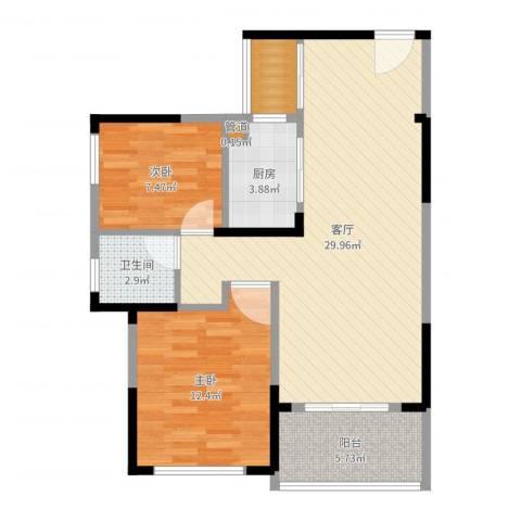 建大领秀城2室1厅1卫1厨81.00㎡户型图