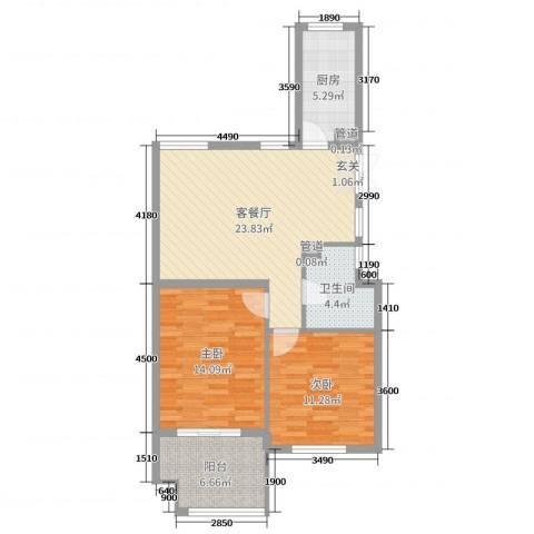 勤业镜悦府2室2厅1卫1厨65.76㎡户型图