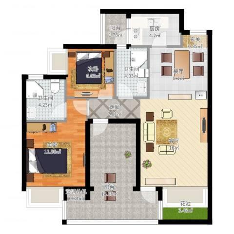 领地海纳天河花园2室2厅2卫1厨113.00㎡户型图