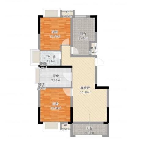 万达西双版纳国际度假区2室2厅1卫1厨97.00㎡户型图