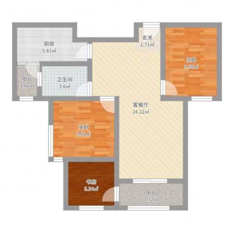 郓城丰泽家园3室2厅1卫1厨78.00㎡户型图