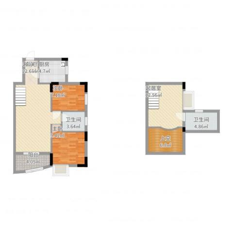 碧河花园2室2厅2卫1厨110.00㎡户型图