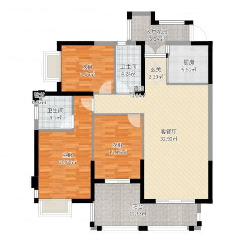 未来海岸系天湖3室2厅2卫1厨125.00㎡户型图