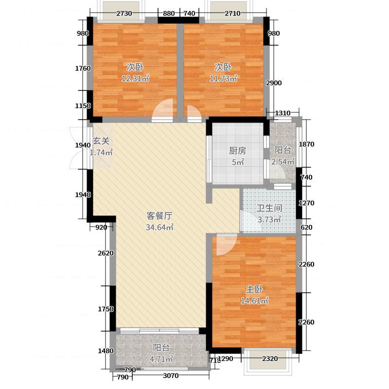 美好易居城111.58㎡B-1户型3室3厅1卫1厨