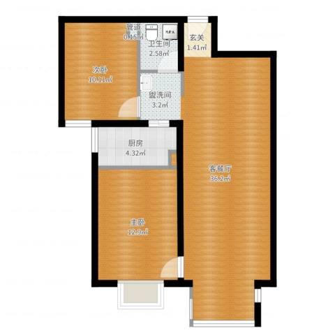 悦澜湾2室2厅1卫1厨89.00㎡户型图