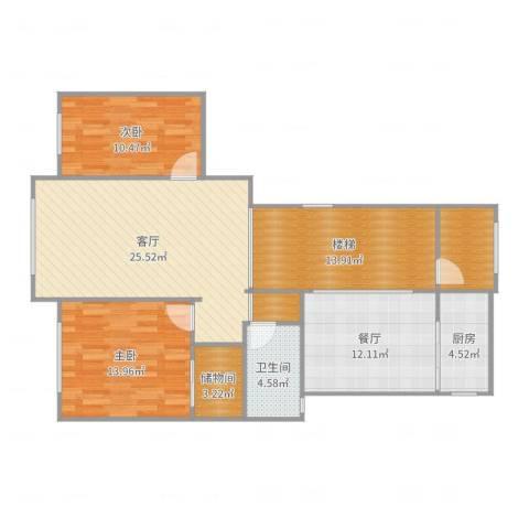山南小镇负一楼2室2厅1卫1厨117.00㎡户型图