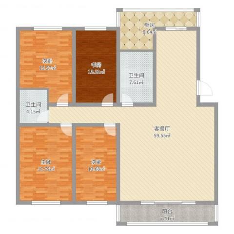 新宇富贵苑4室2厅2卫1厨184.00㎡户型图