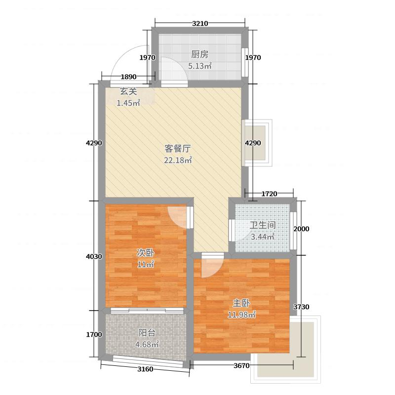 领海世界岛一期72.93㎡11#A2户型2室2厅1卫1厨