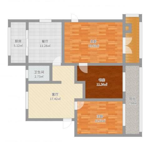 迎秋里3室2厅1卫1厨116.00㎡户型图