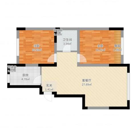 格林阳光城2室2厅1卫1厨73.00㎡户型图