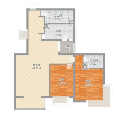 碧桂园温泉小区2室2厅2卫1厨109.00㎡户型图