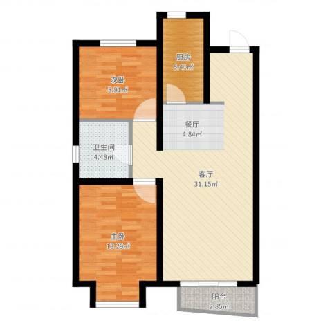 万科蓝山2室1厅1卫1厨83.00㎡户型图