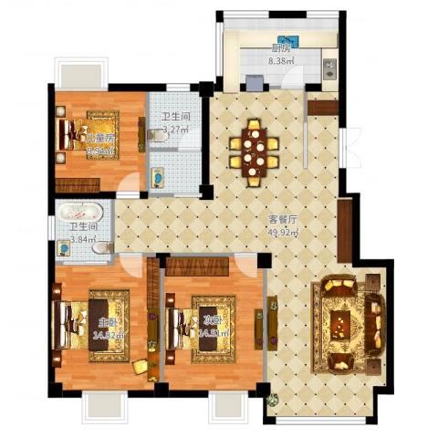 丽园馨都3室2厅2卫1厨134.00㎡户型图