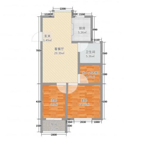 高新花园二期2室2厅1卫1厨114.00㎡户型图