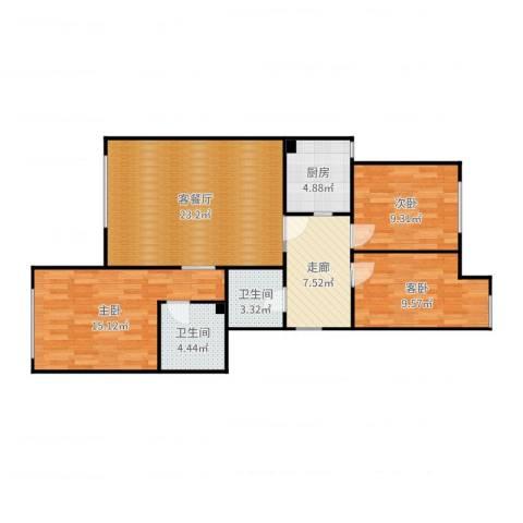 金地经典3室2厅2卫1厨97.00㎡户型图