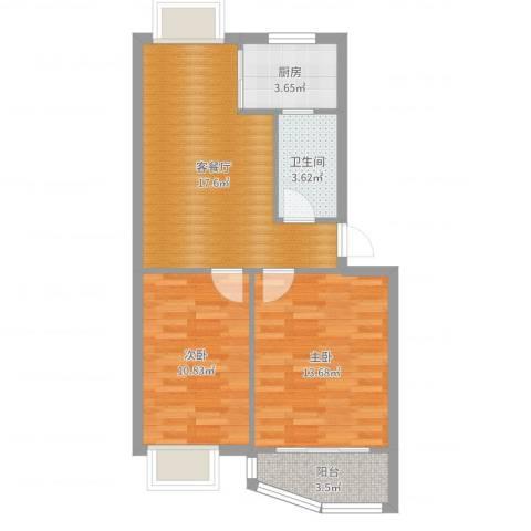 怡静园2室2厅1卫1厨66.00㎡户型图