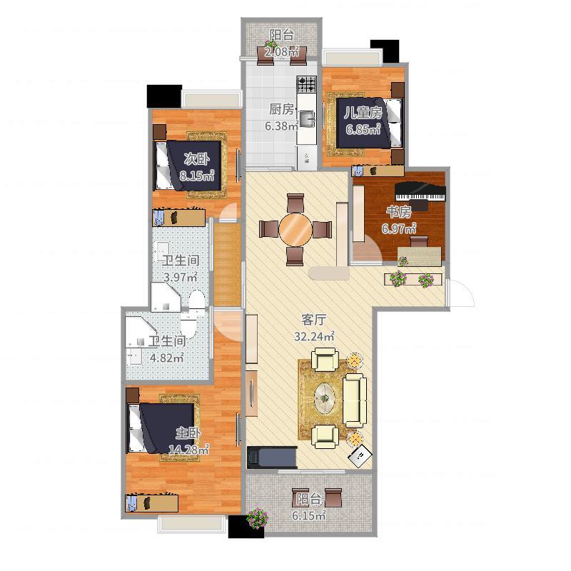 3室两厅131²