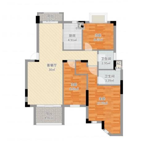 东方海德堡3室2厅2卫1厨104.00㎡户型图