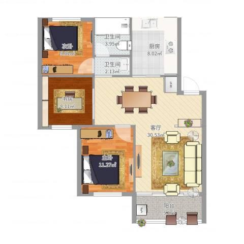 塘西新村3室1厅2卫1厨98.00㎡户型图