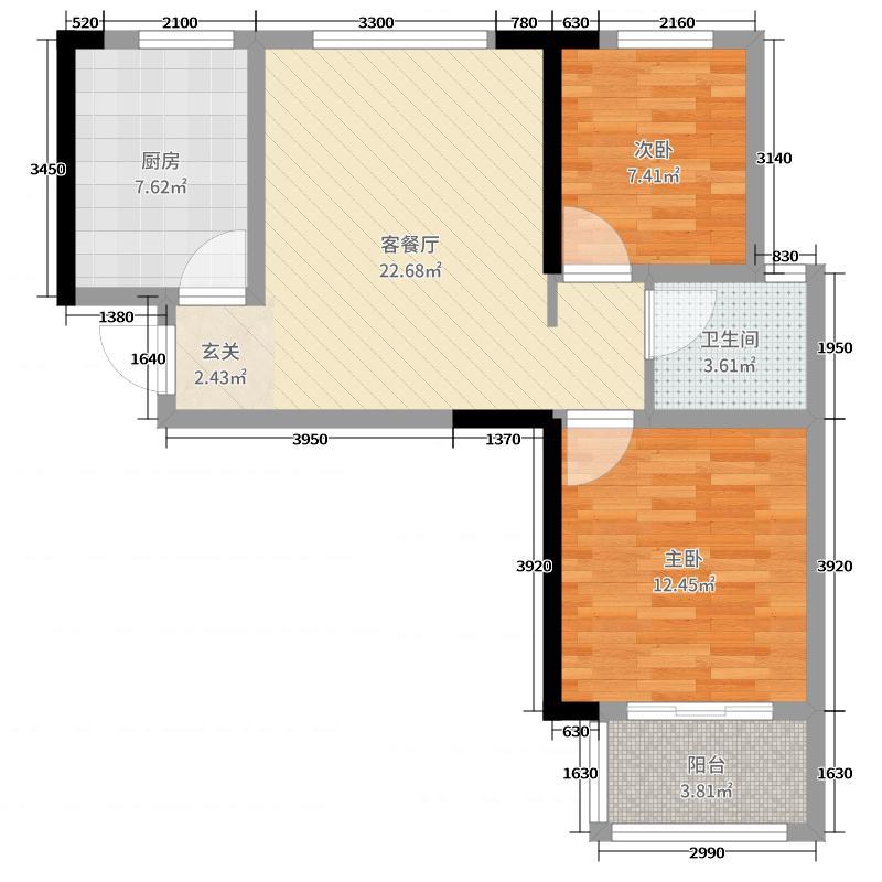 中房绿博景苑72.00㎡1-04户型2室2厅1卫1厨