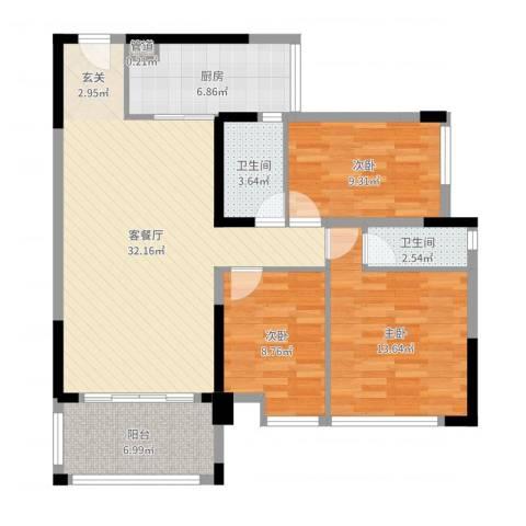 新怡・美丽家园3室2厅2卫1厨105.00㎡户型图