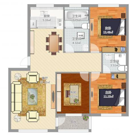 新世纪花园3室1厅3卫1厨114.00㎡户型图