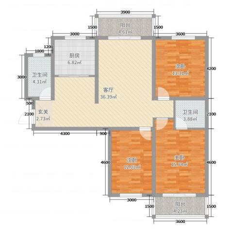 新东亚城市花园3室1厅2卫1厨138.00㎡户型图