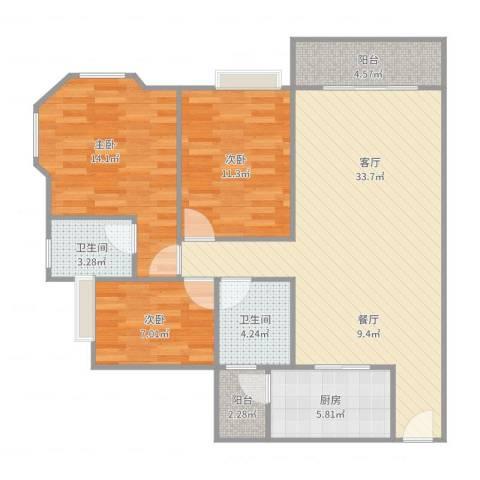 雍逸廷汇星台(B区)3室1厅2卫1厨108.00㎡户型图