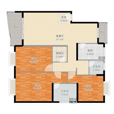久事西郊花园3室2厅2卫1厨186.90㎡户型图