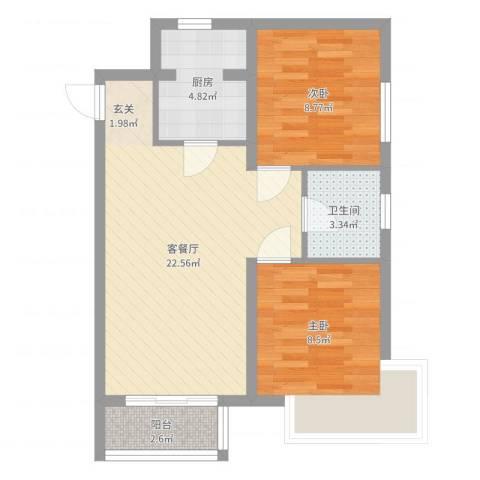 新希望乐城2室2厅1卫1厨63.00㎡户型图