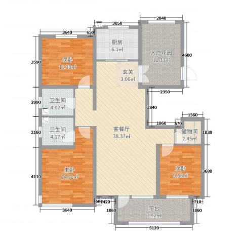 国仕山3室2厅2卫1厨136.00㎡户型图