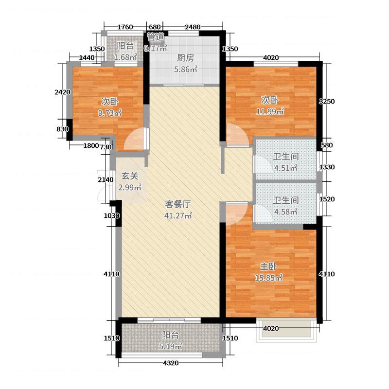 奥兰和园126.00㎡2号楼5号楼F户型3室3厅2卫1厨