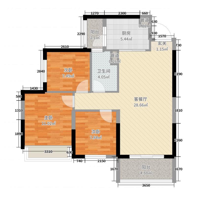 恒大华府89.94㎡9号楼4户型3室3厅1卫1厨
