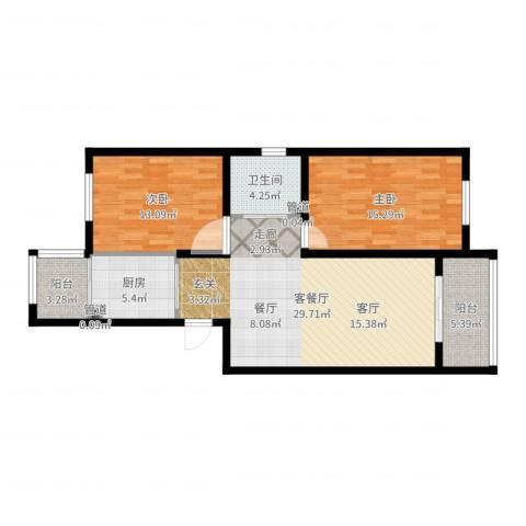 溪山嘉园2室2厅1卫1厨96.00㎡户型图