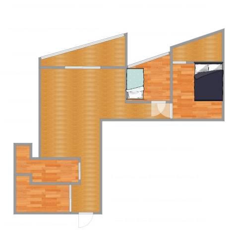 世纪城天鹅湖2室1厅3卫1厨65.00㎡户型图